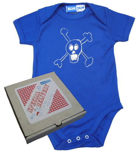 Skull Baby Bodysuit with Pizza Box